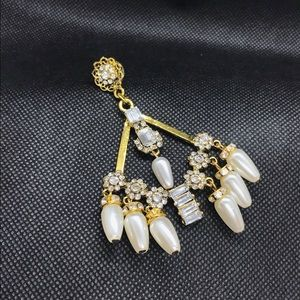 Jewelry - Crystal & Pearl Chandelier Earrings